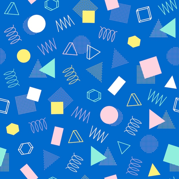 Memphis seamless patterns  80-90s  abstract jumble textures  Vector