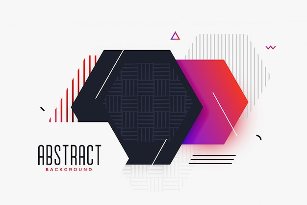 Memphis style abstract hexagonal shape background Free Vector