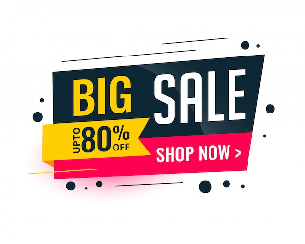 Memphis style big sale template banner Free Vector