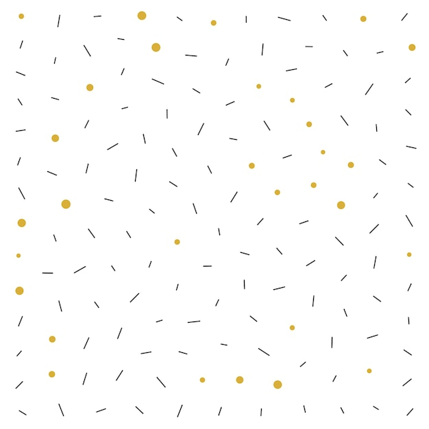 Memphis style black and gold dots pattern background Free Vector