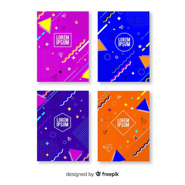 Memphis style brochure collection Free Vector