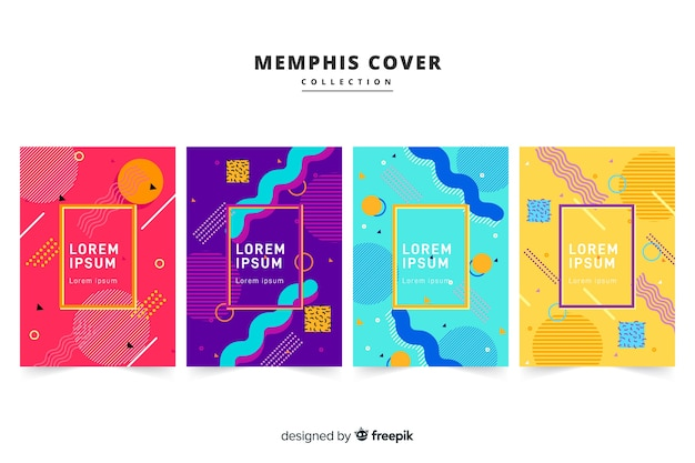 Memphis style brochure pack Free Vector