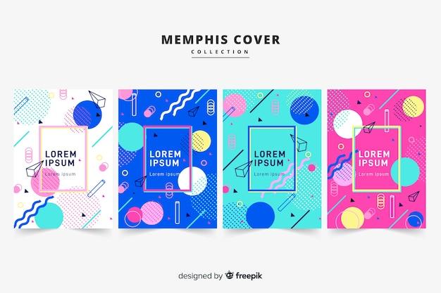 Memphis style brochure pack Free Vector