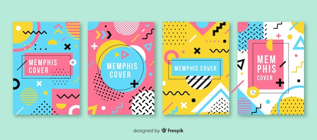 Memphis style brochure set Free Vector