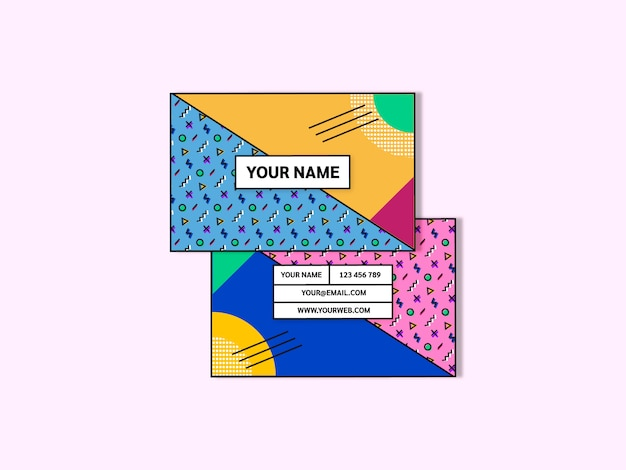 Memphis style business card template vector Free Vector