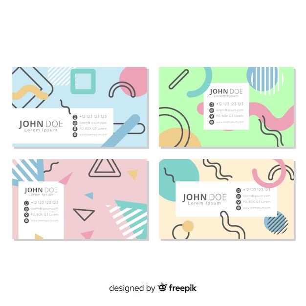 Шаблон визитной карточки в стиле мемфис Бесплатные векторы