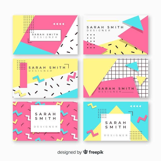 Memphis style business card templates Free Vector