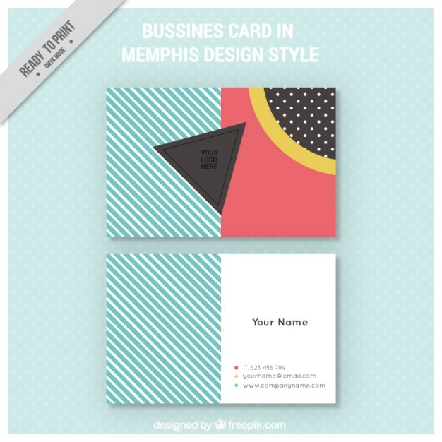 Memphis style business card Free Vector