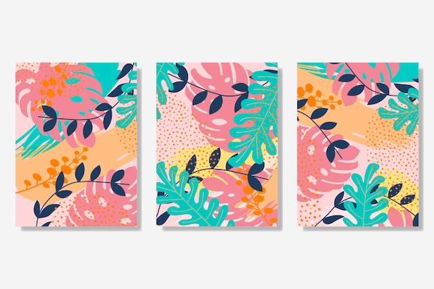 Memphis style cards collection Free Vector