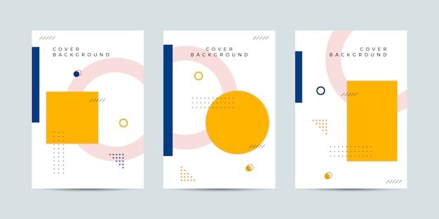 Memphis style cover collection Premium Vector