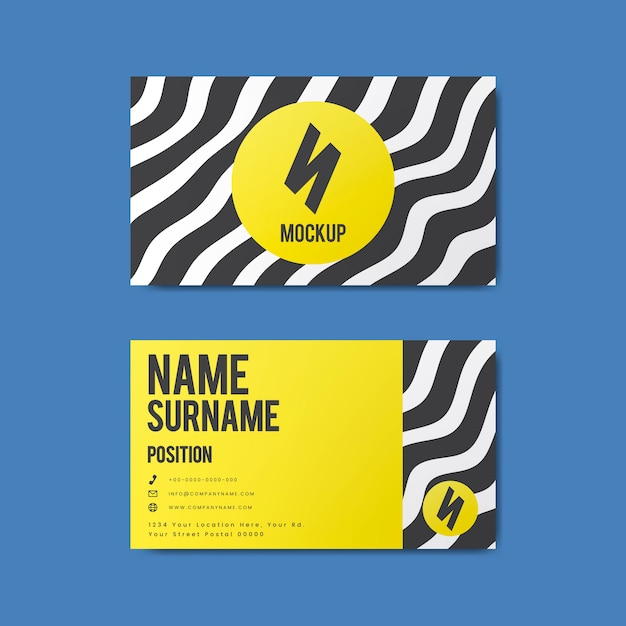 Memphis style creative business card design in bold colors Free Vector