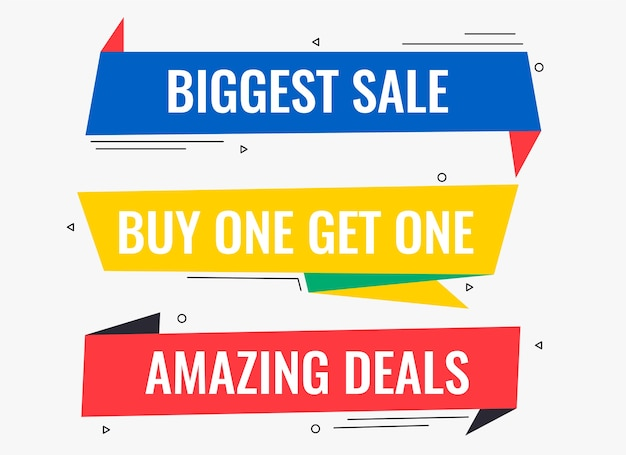 Memphis style deals and promotional sale banners design Free Vector