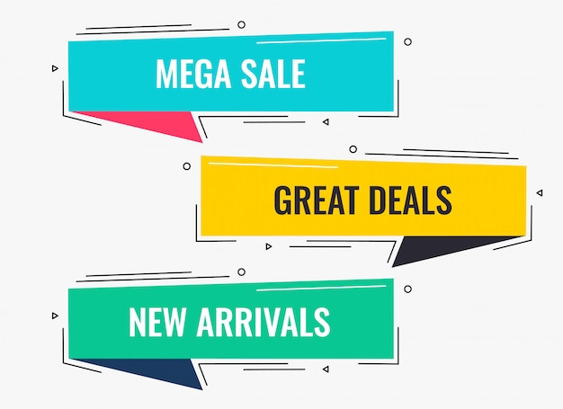 Memphis style flat sale and discount banner design Free Vector
