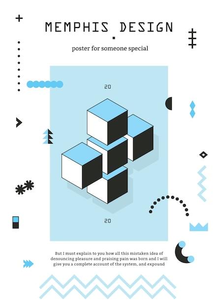 Геометрический плакат в стиле мемфис с кубиками, шевроном, узорными линиями, звездочками, сине-черным Бесплатные векторы