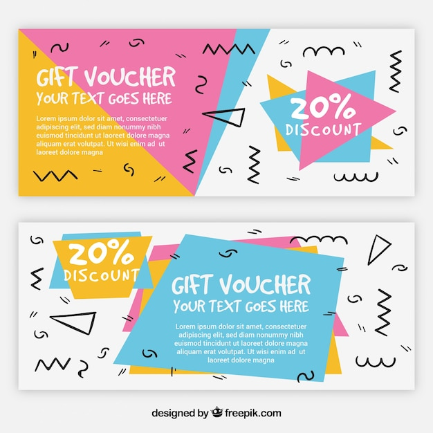 Memphis style gift coupons Free Vector