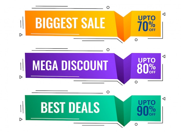 Memphis style modern sale banners set Free Vector