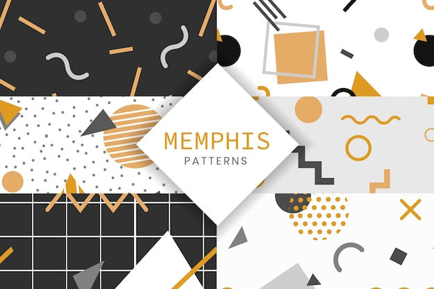 Memphis style pattern collection Free Vector