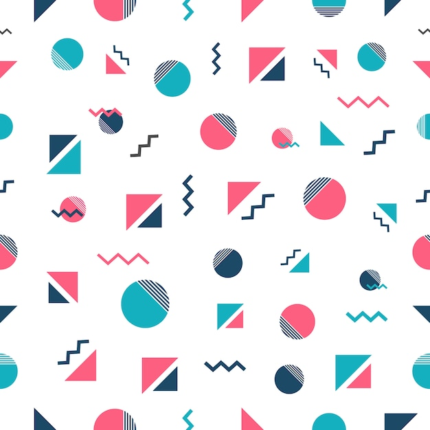 Memphis style pattern design Free Vector