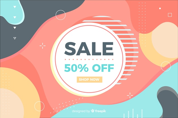 Memphis style sale background Free Vector