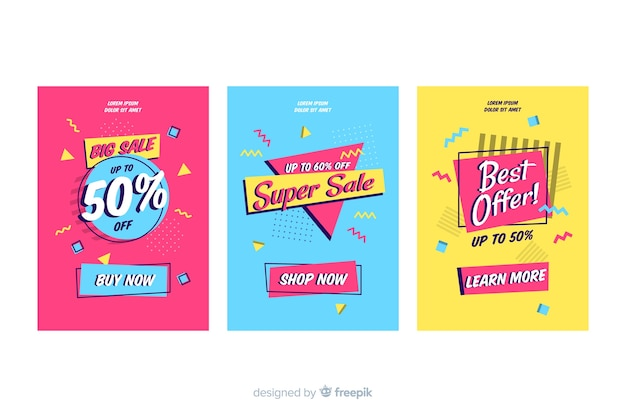 Memphis style sale banner collection Free Vector
