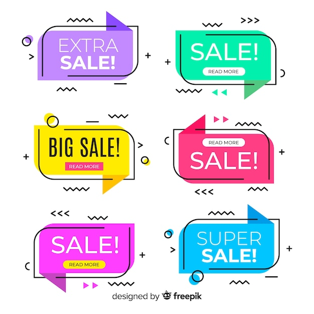 Memphis style sale banners collection Free Vector