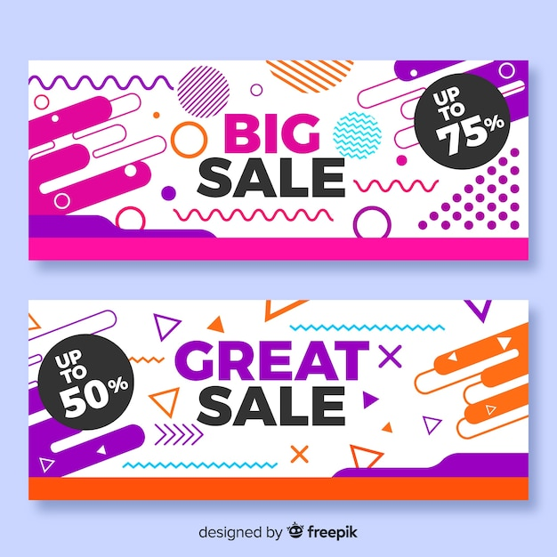 Memphis style sales banner collection Free Vector