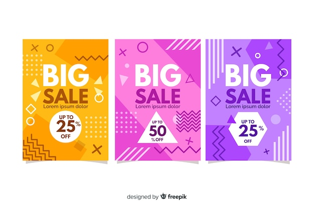 Memphis style sales banner template Free Vector