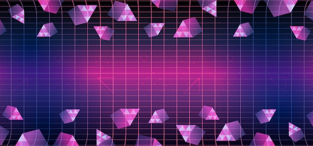 Memphis triangle geometric 80s background Premium Vector