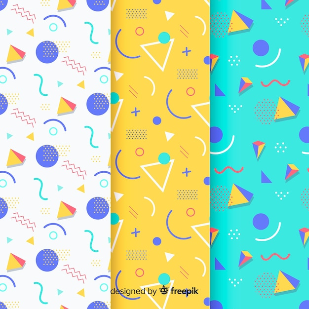 Memphis triangle pattern collection Free Vector