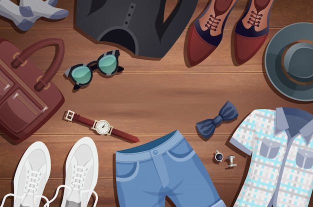 Men accessories illustration background Free Vector