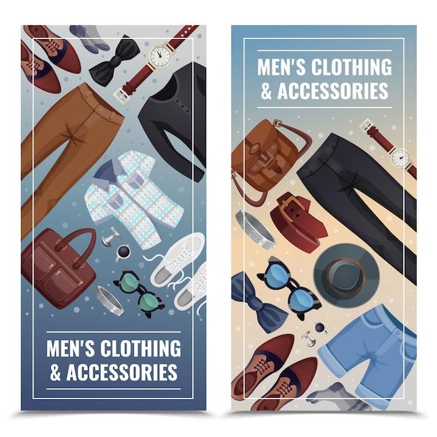 Men accessories vertical banner set Free Vector