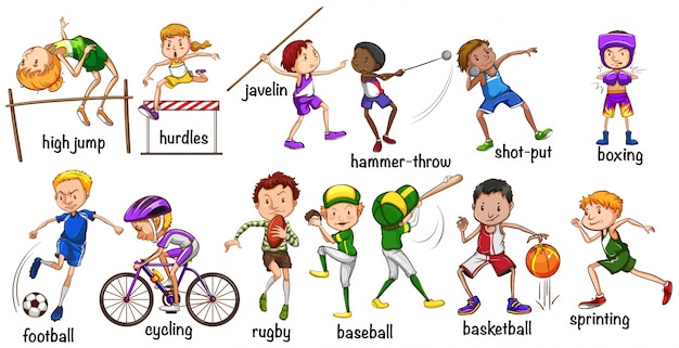 Men and women doing different sports\ illustration