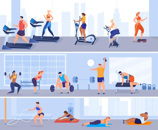 男性と女性はジムでスポーツをします。体操、エクササイズマシン、重量挙げ。体を健康に保つ。フラットな漫画スタイルのカラフルなイラスト。 Premiumベクター