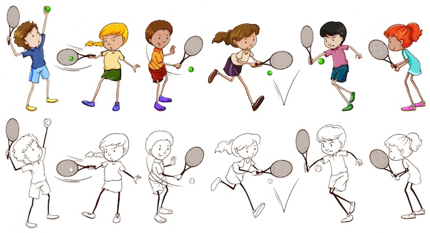 Men and women players for tennis\ illustration
