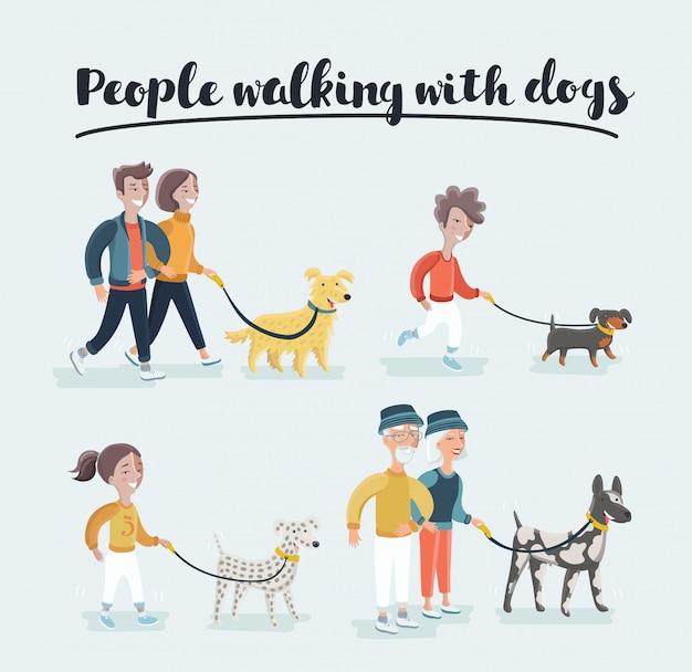 異なる品種の犬、アクティブな人々、余暇を歩く男性と女性。ゴールデンレトリバーを持つ男とダルメシアン犬の品種を持つ女性。イラストのセット Premiumベクター