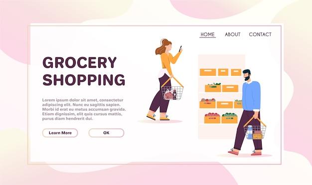 Мужчины и женщины с корзинами гуляют возле полок с овощами в супермаркете. Premium векторы