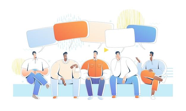 Сидят мужчины и разговаривают с пузырями речи. иллюстрация дружелюбных друзей в чате Premium векторы