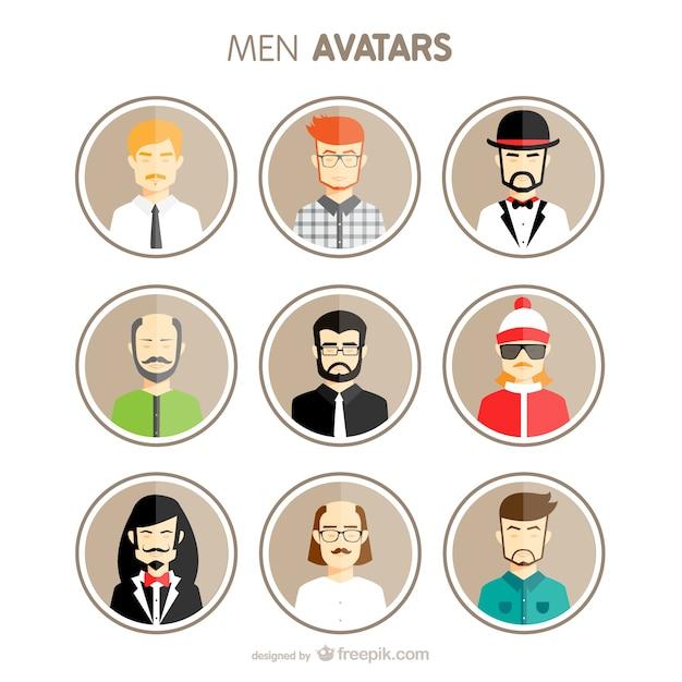 Men avatars set Free Vector