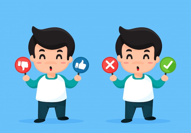 Men cartoon that shows signs like and dislikes. Premium Vector