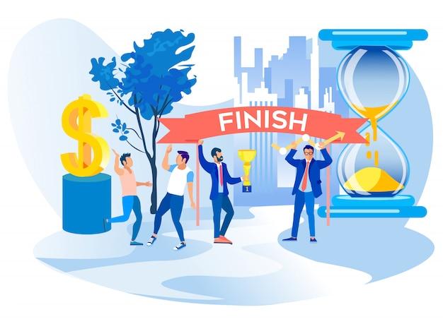Men celebrate finish successful project Premium Vector