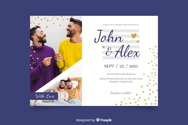 Men celebrate wedding with invitation photo Free Vector
