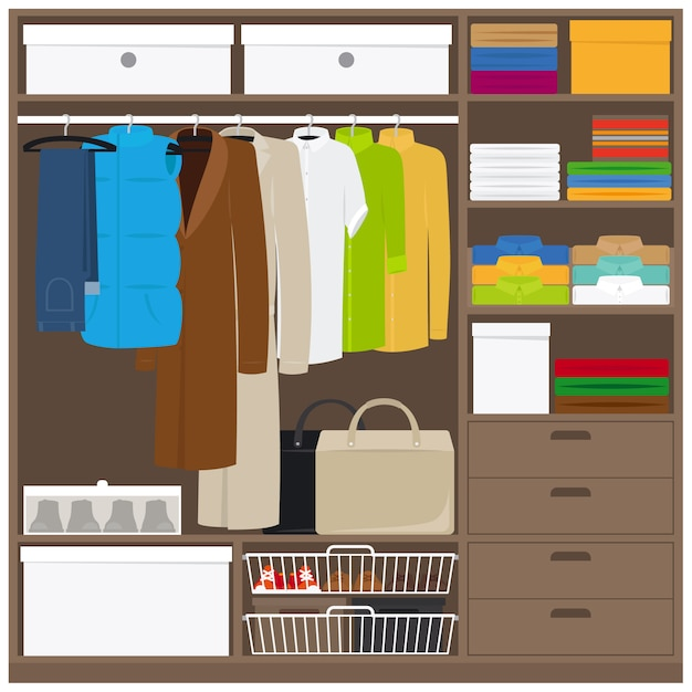 Men cloths wardrobe with different types of clothes Premium Vector