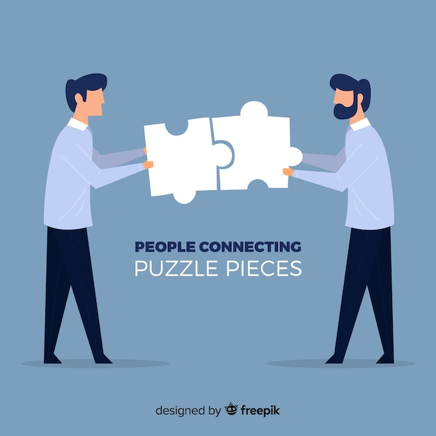 Men connecting puzzle pieces background Free Vector