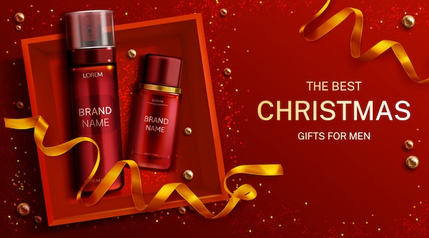 Men cosmetics christmas gift bottles shaving foam and lotion, cosmetic tubes in box top view with gold ribbon. body care product banner template Free Vector