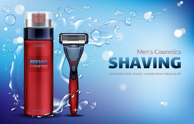 Men cosmetics, shaving foam, safety razor blade 3d realistic  ads poster. Free Vector
