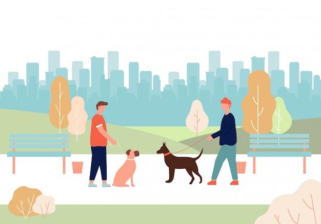 Men dog owner holding leash in hand doberman boxer Premium Vector