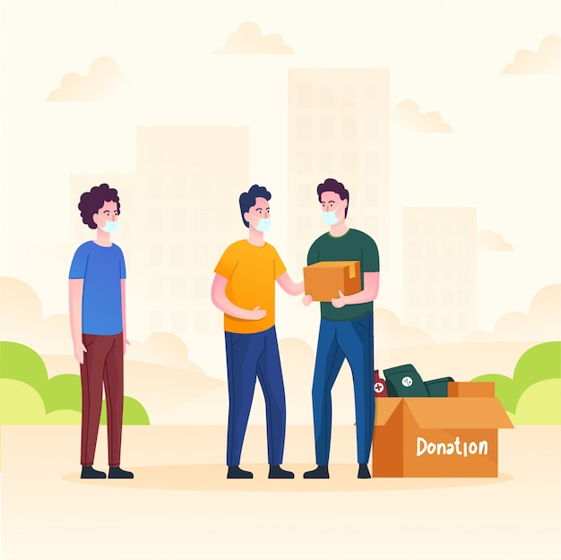 男性は人々を助けるために寄付します Premiumベクター