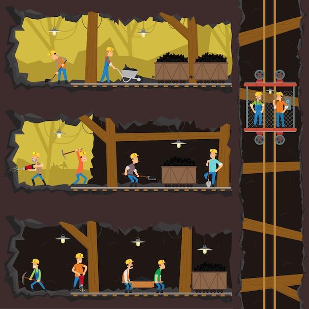 Men extract coal in the mine. Premium Vector
