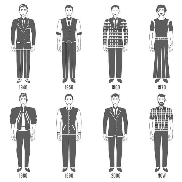 Men fashion black white evolution character set Premium Vector