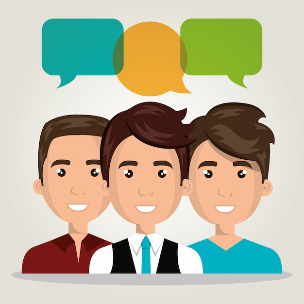 Men group chat talk dialogue isolated Premium Vector